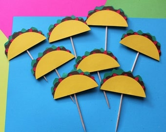 Taco cupcake toppers, taco party, fiesta toppers