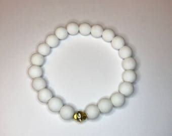 Matte White Beaded Stretch Bracelet Closeout Sale