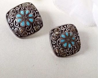 Classic Silver Earrings, Silverplate Clip Ons, Vintage Earrings ,Simulated Turquoise Earrings, Filigree Earrings, Vintage  Earrings