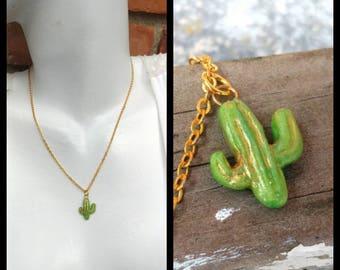 Cactus necklace, Cactus charm necklace, Cute cactus necklace, Gold cactus necklace, handmade cactus necklace, Tiny cactus charm, Clay cactus