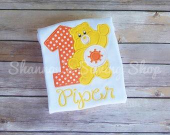 Care Bear Birthday Shirt, Funshine Care Bear, Orange Care Bear