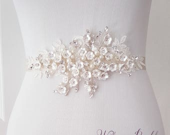 Bridal belt, Flower Wedding belt, Bridal Sash, Floral Wedding Belt, Bridal Accessories - Style 791