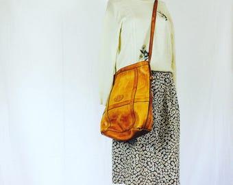 Original saddle leather bodybag | saddle leather bag| leather marketbag | vintage leather bag | large saddle leather bag