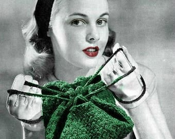 Crochet Purse Pattern -  Digitally Restored Vintage 1940's Handbag Pattern - Heartstrings Bag -  PDF - Instant Download