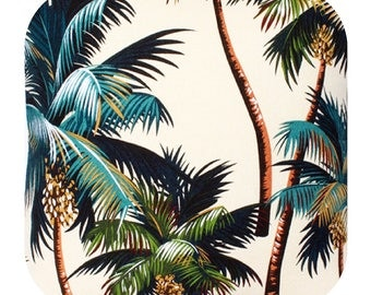 Fabric Tropical Palm Trees on Natural, Cotton Twill Barkcloth Outdoor Leaf Nature Upholstery Sewing Craft