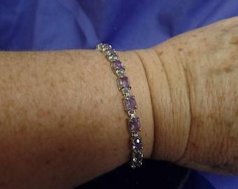 Sterling Silver Amethyst Bracelet marked 925 Thai-Tennis Style