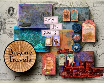 TRAVEL Journal Scrapbook  Printable journal pages  digital journal kits  Ephemera pack  junk journal vintage  printable journal cards