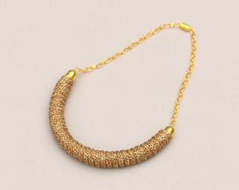 Sparkling Knitted Necklace Gold-Brown, Fabric Rope Necklace, Textile Statement Necklace Beige Gold, Sparkling Jewelry, Knitted Jewelry