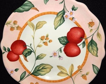 ON SALE Princess House Exclusive, Fruit on the Vine, Apples Luncheon Plate, Peach Rim, Dinnerware, Excellent Condition