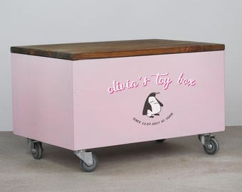 Personalized toy box etsy toy box personalised on wheels toys storage box custom made wooden toy box negle Image collections
