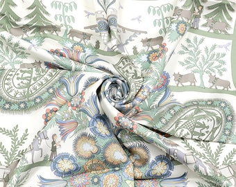 "HERMES SCARF Silk ""Decoupages"" by Anne Rosat 90cm Carre 100% Auth"