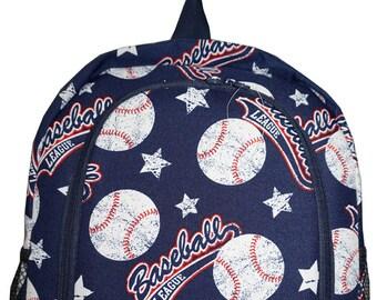 Vintage Baseball Print Monogrammed School Backpack