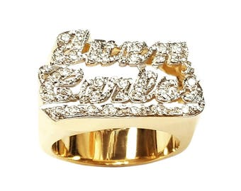 Lee139cz-10K 15mm 10K Gold with 25 Cubic Zirconia on Double Name Ring