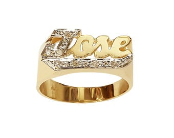 Lee116Bd-10K 12mm 10K Gold Block Letter Accented w/ 8 Diamond Name Ring