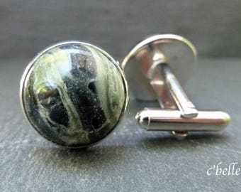 Cufflinks Kambaba Jasper Ø 16 mm
