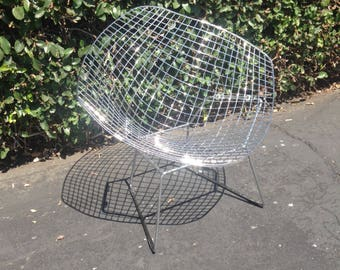 sold vintage chrome wire diamond chair in the manner of harry bertoia for knoll mid