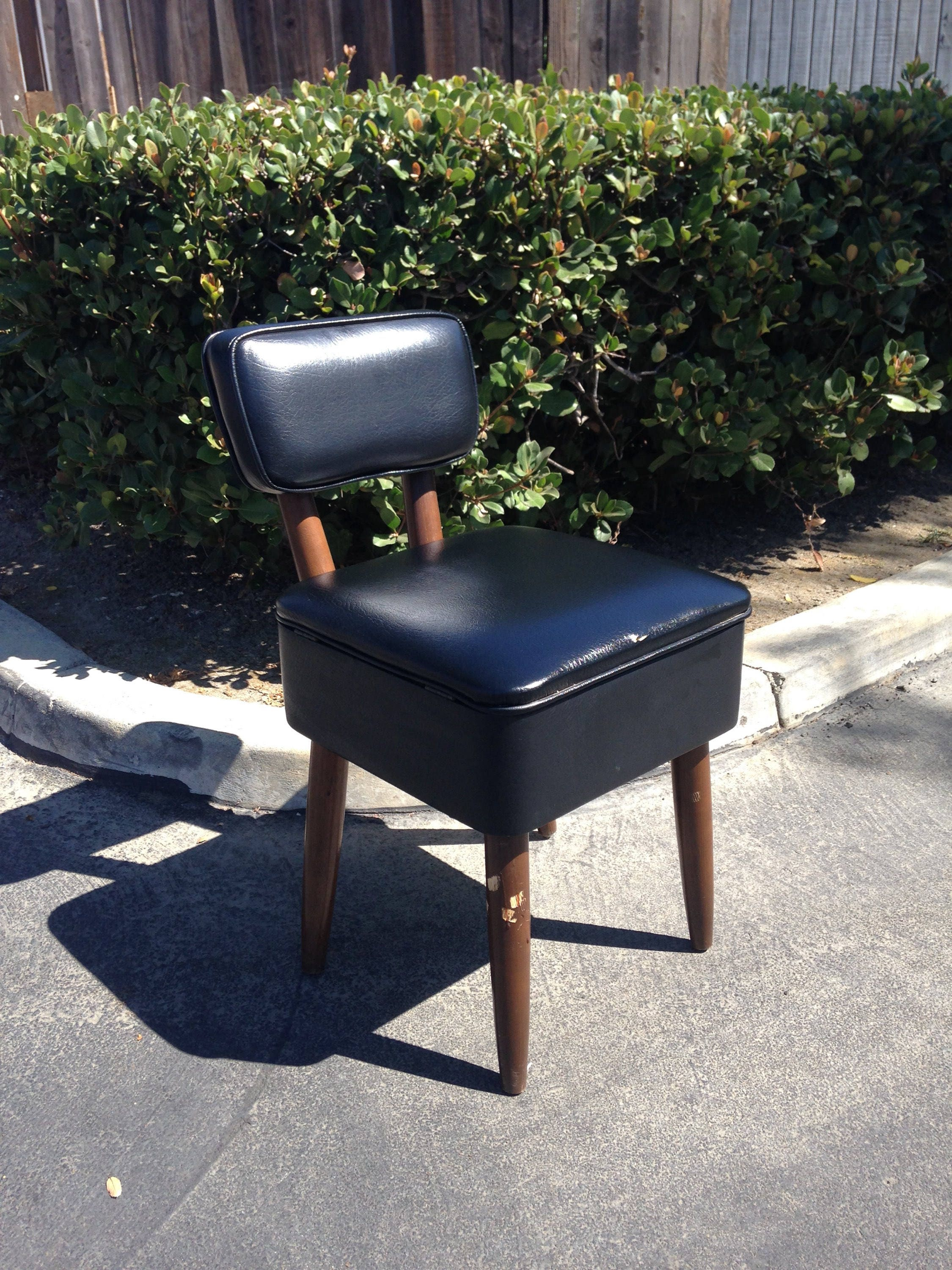 SOLD Mid Century Danish Modern Vanity Chair Black Faux Leather