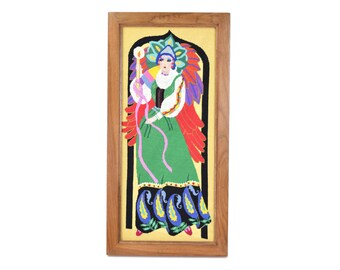 Vintage Needlepoint Art Framed Art Deco Glamorous Queen in Colorful Gown
