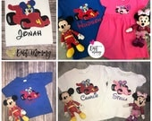Mickey Roadster Racers | Embroidered | Birthday Party Shirt | Personalized with Name and Age | Applique | Custom | Pick Your Deadline