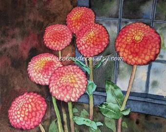 Pink Zinnias Watercolor Print. Zinnia painting. Watercolor floral. Zinnia wall art. Zinnia picture. Floral painting. Spring decor. Flowers.