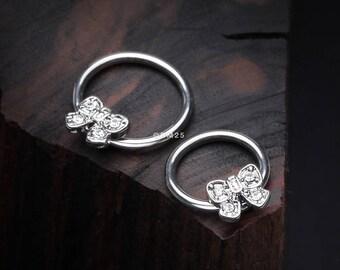 Dainty Bow-Tie Sparkle Captive Bead Ring