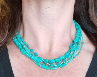 Four Strand Turquoise Necklace, Sterling Silver, Vintage Turquoise Beads, Turquoise Statement Necklace, Native American Inspired