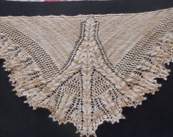 scarf / shawl handmade shades of beige and Brown