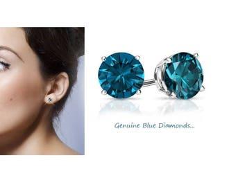 1.00 Carat VS2 (clarity) Genuine Blue Diamond Stud Earrings in 14K Gold