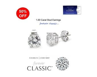 SALE!! 1.00 Carat Moissanite Forever Classic Stud Earrings (with Charles & Colvard warranty)