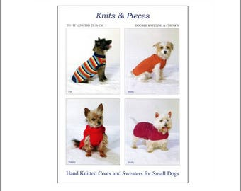 Hand Knitted Coats and Sweaters for Small Dogs, Knits and Pieces knitting pattern, dog coat, knitted dog coat pattern, UK seller