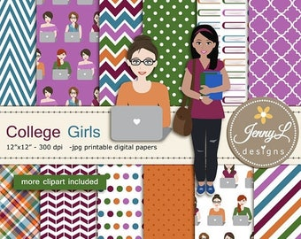 50% OFF College Students University Girls Clipart, Digital Papers SET, Books, Laptop for Digital Scrapbooking,  invitations, Planner