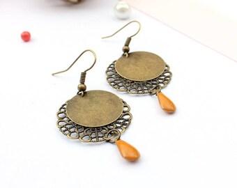 Bronze color earring / earrings enamel / earrings drop yellow / ochre and bronze earrings