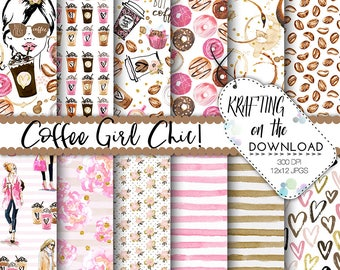 watercolor coffee paper pack watercolor coffee digital paper coffee paper pack watercolor coffee girl gold foil accents planner girl papers