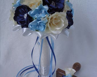 Clarissa blue-colored wedding bridal bouquet with rose and fantasy flowers