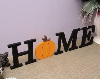 Halloween Decorations, HOME Wooden Letters, Thanksgiving Decor, Interchangeable Letters Sign, Home Decor, Pumpkin Decor, Housewarming Gift