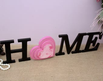 Home Wooden Sign, Home Letters, Valentines Day Gift, Seasonal Decor, Interchangeable Letters, Wood Letters, Wooden Heart, Housewarming Gift