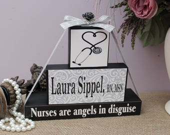 Nursing Gift, Nurse Appreciation, Nursing Graduation Gift, Nurses are angels in disguise, Christmas Gift Idea, Nurse Name Sign, RN Gifts