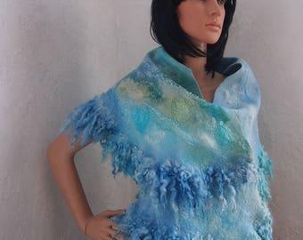 Blue Women Felted merino wool scarf handmade wool silk scarf felted shawl Nuno felted scarf shawl ready to ship
