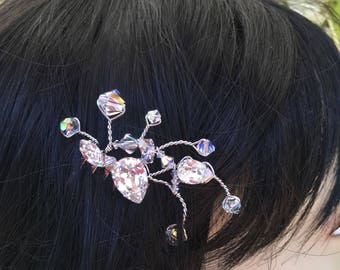 Small Swarovski crystal wired hair comb.