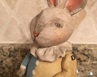 Hand painted composite Rabbit with articulated arms Folk Art