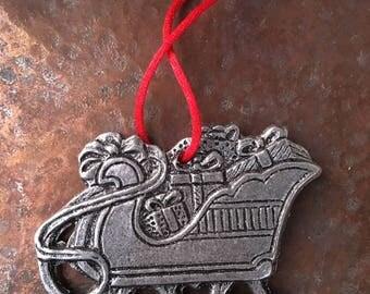 Pewter Carson Sleigh Christmas Ornament