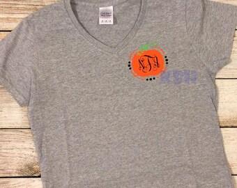 Adult or Child Pumpkin Halloween Monogram Shirt