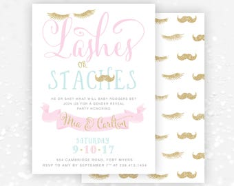 Lashes or Staches Gender Reveal Baby Shower Party Invitation: Gender Reveal Invite, Boy or Girl, Moustaches, He or She? Pink. Blue & Gold