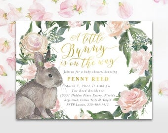Bunny Baby Girl Shower Invitation, A Little Bunny Is On The Way Invite, Girl