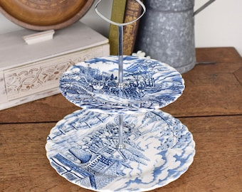 Vintage two tiered cake plate, blue and white Myott 'Royal Mail' pattern made in England.