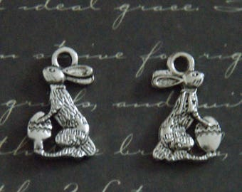 2 silver-plated 9x15mm Easter Bunny charms