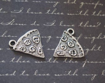 2 charms slice of pizza silver-plated 20x19mm