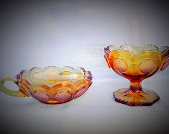 Fostoria Amber Coin Candy Dish and Handled Nappy