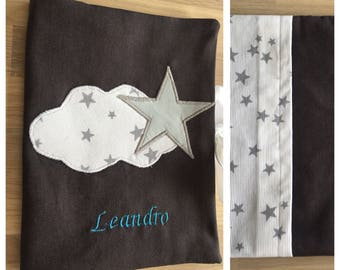 Health Book personalized gray and white with stars and cloud