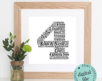 Personalised 4th ANNIVERSARY GIFT - Word Art - 4th Wedding Anniversary - Printable Gift - 4 Year Anniversary - 4th Wedding Anniversary Card